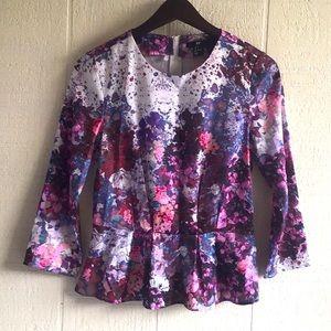 H&M Lana del Rey watercolor floral peplum top